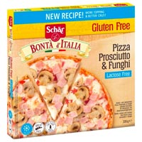Schar gluten free pizza with ham and mushrooms
